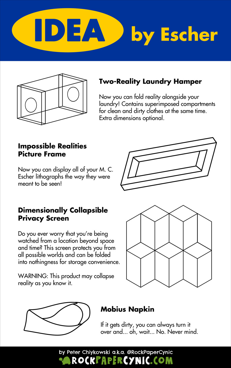M. C. Escher designs furniture for IKEA and, let's face it, Relativity as a laundry hamper? A multiple perspective picture frame? SWEET!