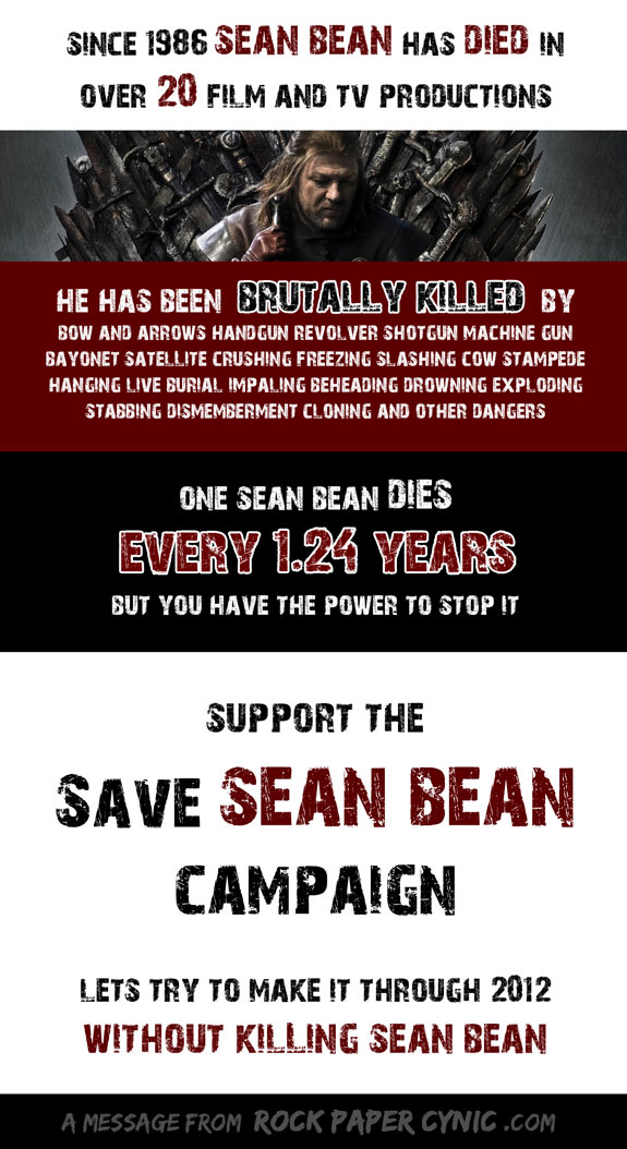 we start a campaign to save Sean Bean, who has died over 20 times in films and tv shows since 1986