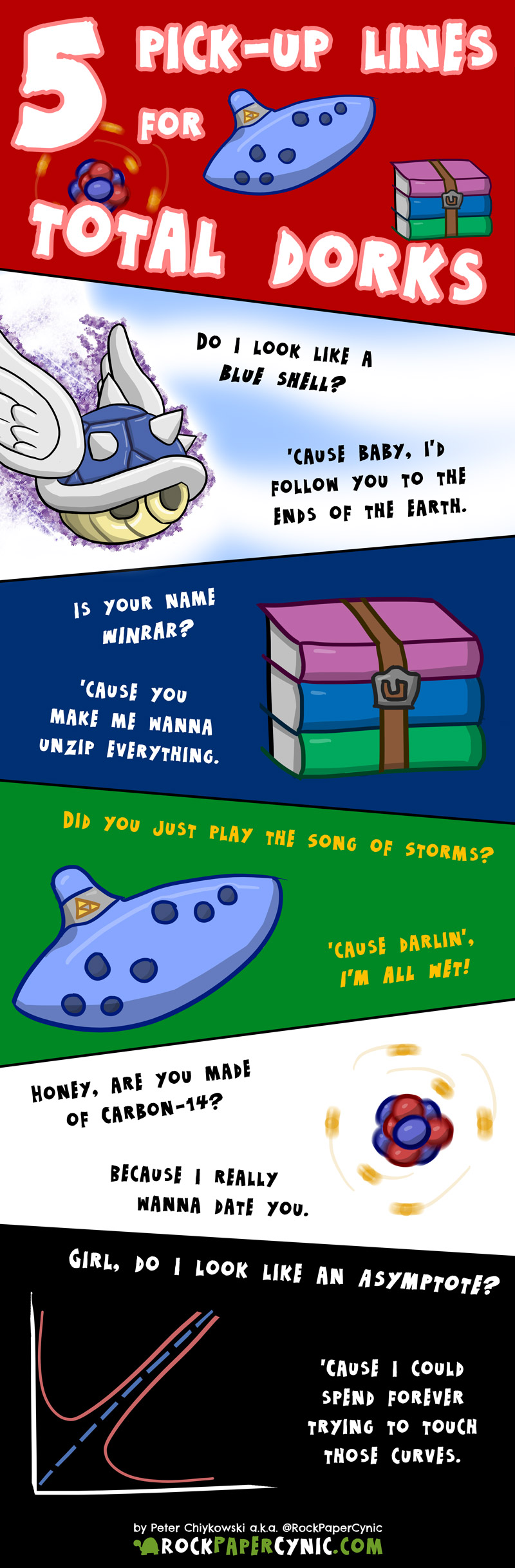 pick-up lines for those who love Carbon-14, blue shells, Song of Storms, WinRAR and asymptote