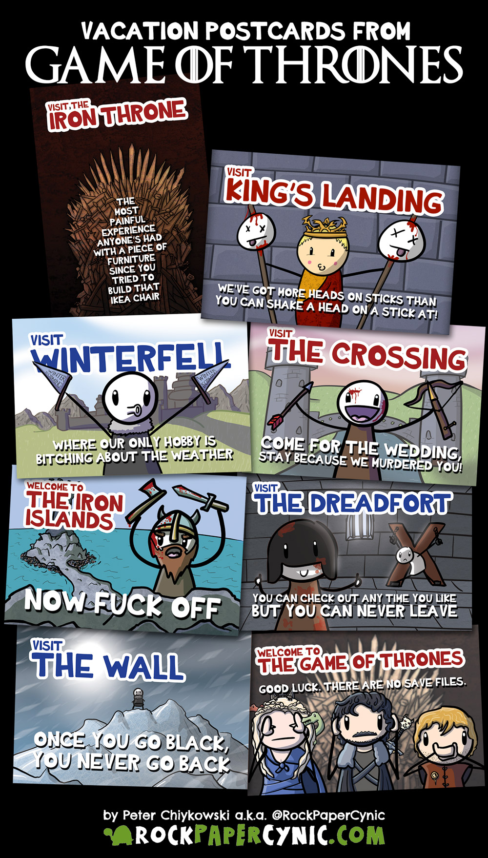we share 8 Game of Thrones postcards you can send to your friends on your next vacation in Westeros!