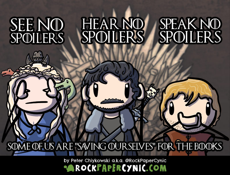 we have a simple request and code of conduct for dealing with the Game of Thrones show spoiling A Song of Ice and Fire for fans of the books