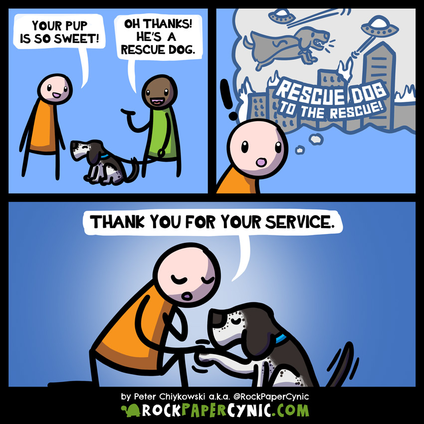 A comic about rescue dogs and dogs who rescue!